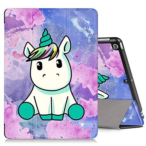 ZhuoFan Funda iPad 9.7 2018, Case Cuero PU Silicona Magnetica Función de Soporte y Auto-Desbloquear Smart Cover Piel Protector Ligera Compatible con Apple iPad9.7 Pulgadas, Unicornio