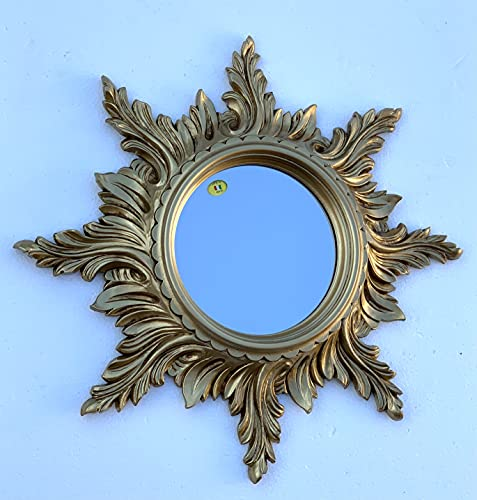 Espejo de pared con diseño de sol, color dorado antiguo, 50