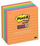 Post-it Super Sticky Notes, 4x4 in, 6 Pads, 2x the Sticking Power, Rio de Janeiro Collection, Bright Colors (Orange, Pink, Blue, Green), Recyclable (675-6SSUC)