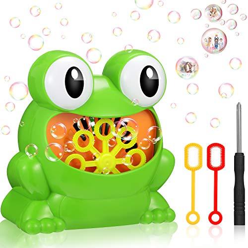 Sumind Juguete de Máquina de Burbujas de Rana Soplador de Burbujas Eléctrico Fabricante de Burbujas Automático con Destornillador y 2 Varitas de Burbujas para Niños Niñas, Fiesta Boda al Aire Libre