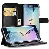 EasyAcc Hülle Hülle für Samsung Galaxy S6 Edge, Lederhülle PU Leder Flip Tasche Klappbar Schutzhülle Handyhülle mit [Ständer Funktion] Card Holder Cover Kompatibel mit Samsung Galaxy S6 Edge - Schwarz