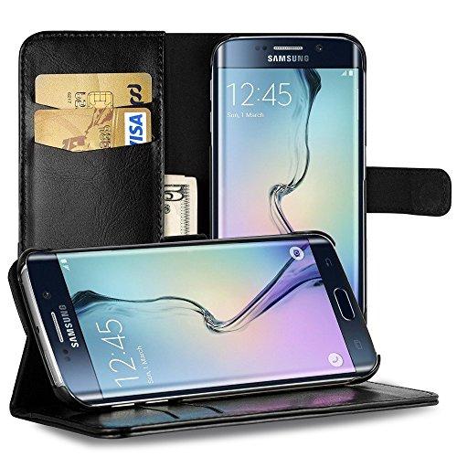 EasyAcc Hülle Case für Samsung Galaxy S6 Edge, Lederhülle PU Leder Flip Tasche Klappbar Schutzhülle Handyhülle mit [Ständer Funktion] Card Holder Cover Kompatibel mit Samsung Galaxy S6 Edge - Schwarz