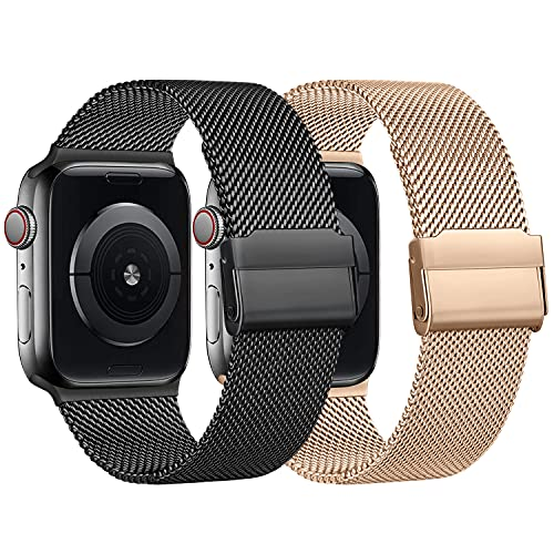 RMOS Kompatibel mit Apple Watch Armband 42mm 38mm 44mm 40mm, Mesh Gewebe Edelstahl Metall Schnellwechsel Armband kompatibel mit iWatch Series SE/6/5/4/3/2/1 (Roségold&Schwarz, 42mm/44mm)