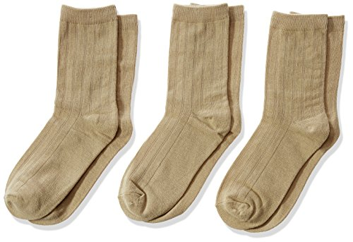 Jefferies Socks Little Boys' 6-11 Rib Crew (Pack of 3), Khaki, X-Small