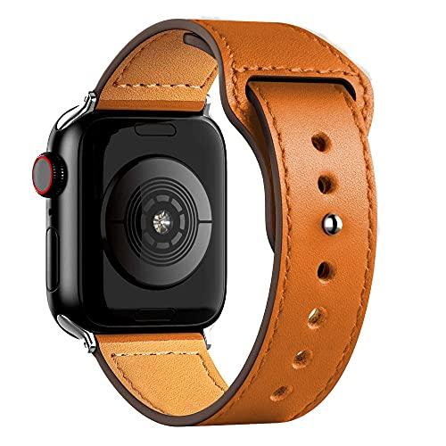 Ternzun Correa de cuero para Apple Satch Band 40mm 42mm 38mm 44mm Smartwatch Accesorios Pulsera iWatch 3 4 5 6 se (38mm o 40mm, naranja)