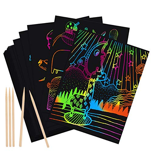 ATOPDREAM Arts and Crafts for Kids Ages 8-12, Scratch Paper Art Set for Kids Party Favors Games Supplies Kits DIY Christmas Birthday Gifts Toys for 3-12 Year Old Boys Girls Kids Toys Gifts Age 5-10