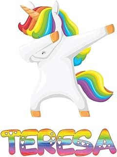 Teresa: Teresa 6x9 Journal Notebook Dabbing Unicorn Rainbow