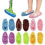 Tagaremuser 12 STÜCKE Mopp Hausschuhe Mikrofaser Mopp Schuhe Wiederverwendbare Bodenreiniger Geeignet für Küchen Badezimmer Wohnzimmer Boden 6 Farbe