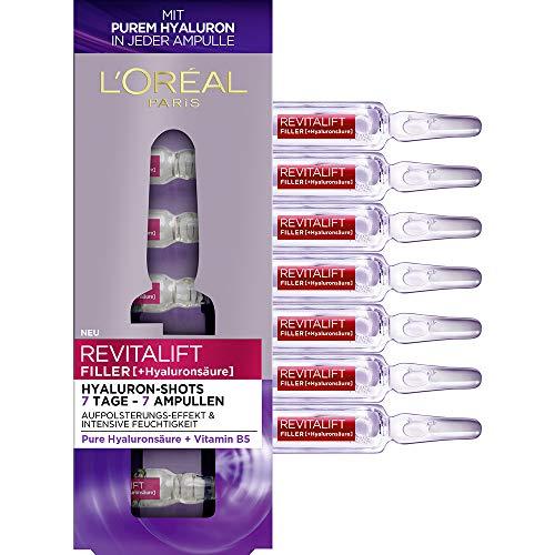 L'Oréal Paris Revitalift Filler Hyaluronsäure Ampullen hochdosiert, Anti-Aging Filler-Shots mit purem Hyaluron für Intensive Feuchtigkeit, 1-Wochen-Kur, 7x 1,3ml