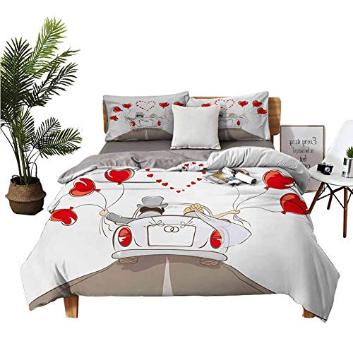 Four-Piece Bedding Luxury Bed Sheet Set Flat Sheet Newlywed Couple in Vintage Car with Heart Shaped Balloons Drawing Art Print Red Taupe White Environmental Printing W80 xL90