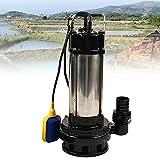 Bomba sumergible para aguas residuales (acero inoxidable, 36000 L/H, 1500 W, con interruptor de flotador)