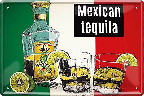 Mexicaanse Tequila met citroen 20 x 30 cm huis bar decoratie metalen bord 333