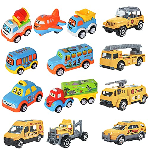 WISHKEY Plastic Power Friction Pull Back, Push and Go Car, Cute Crawling Miniature Vehicle Toy for Toddler Kids 3 Years & Above (Pack of 13, Multicolor)