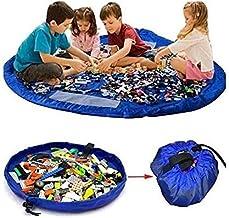 صندوق بشكل بساط نايلون محمول لوضع العاب الاطفال كمجسمات ليغو وتخزينها وتنظيمها، مناسبة كهدية مثالية للطفل، XL، 150 سم