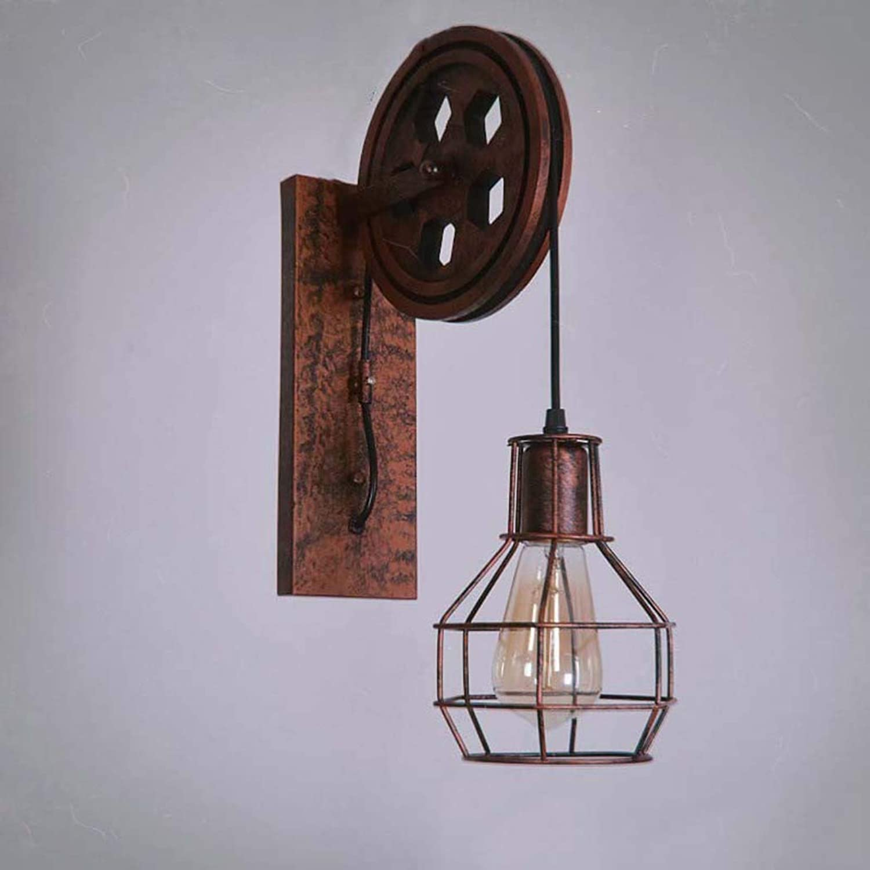 Lámpara De Parojo Romántica Retro, Lámpara De Parojo Retro Industrial del Desván Solo Accesorio De Luz De Elevación De La Polea De La Cabeza (Color   UN)