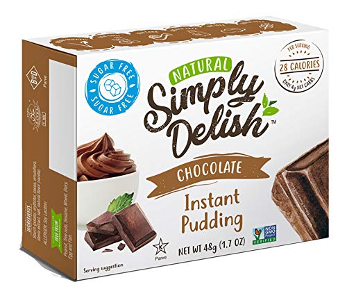 Simply Delish Natural Instant Chocolate Pudding - Sugar Free, Non GMO, Gluten Free, Fat Free, Vegan, Keto Friendly - 1.7 OZ (Pack of 1)