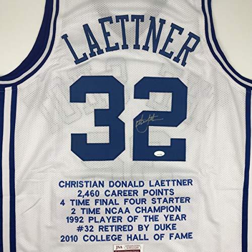 Autographed/Signed Christian Laettner Duke White Stat The Shot College Basketball Jersey JSA COA