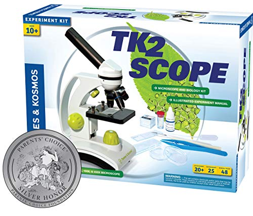Thames & Kosmos TK2 Scope Biology and Durable Metal Microscope Set with Glass Optics, 25 Experiments and 48 Page Full Color Lab Manual, Professional Student Quality (636815)