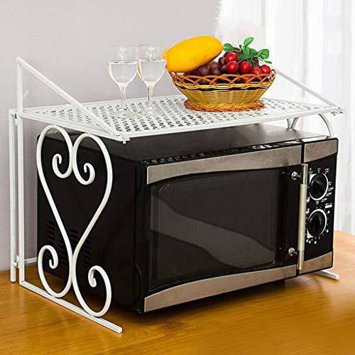 錬鉄製の電子レンジラック、キッチン収納ラック、単層の錬鉄製のファッション折りたたみ式オーブンラック、多機能電子レンジラック Ztoyby (Color : White)