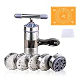 Noodles Press Machine, VolksRose Stainless Steel Manual Pasta Maker + Silicone Baking Pastry Mat with Measurement & Plastic Dough Cutter, Multi-purpose Spaghetti Making Tool for Juicer Fruit Vegetable