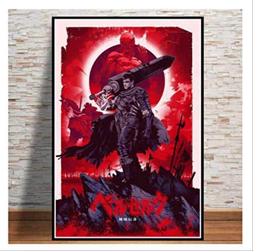 DPFRY Cuadro En Lienzo Kentaro Miura Berserk Japón Anime Retro Cartoon Poster Wall Art Painting Prints Living Home Room Decor Mn69T 40X60Cm Sin Marco