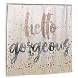 DmiGo Cortina de Ducha,Hello Gorgeous Lilac Periwinkle Rose Gold Confetti Fabric Set de decoración de baño con Ganchos 150cmx180cm