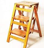 NYDZDM Taburete de Madera Plegables 3 Pasos 2 con Escalera del Taburete multifunción Cubierta Columpio Tamaño 42x56x66cm