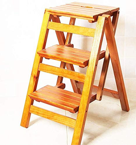 Yxsd klapkruk van hout, 3 treden, 2 met multifunctionele stoel, afdekking voor schommels, maat 42 x 56 x 66 cm