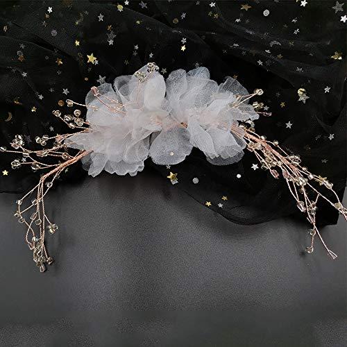 MJJKIO Koreanische Braut Kopfschmuck Neue süße Kristall Perlen Blume Haarschmuck Haarspangen Hochzeitskleid mit Schmuck Kristallgarn Blume Haarschmuck