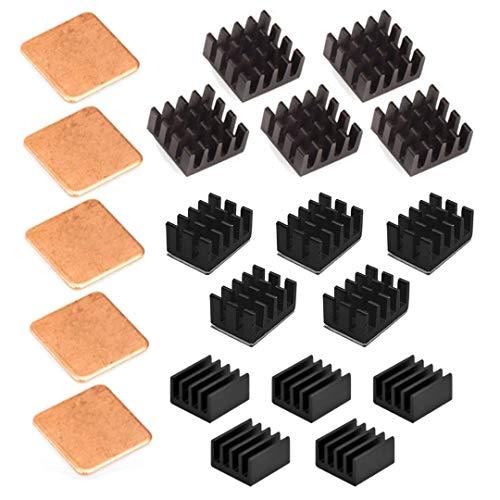 Easycargo 20pcs Raspberry Pi 4 Heatsink Kit Aluminum + Copper + 3M 8810 Thermal Conductive Adhesive Tape for Cooling Raspberry Pi 4 B, Raspberry Pi 3 B+