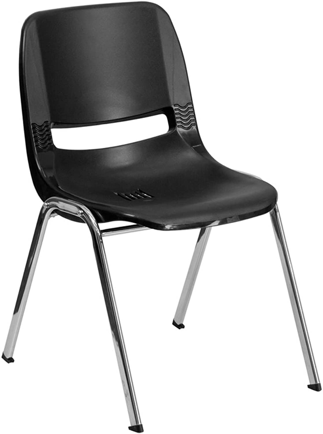 Offex OF-RUT-12-BK-CHR-GG Hercules Series 440 -Pound Capacity Black Ergonomic Shell Stack Chair with Chrome Frame, 12-Inch