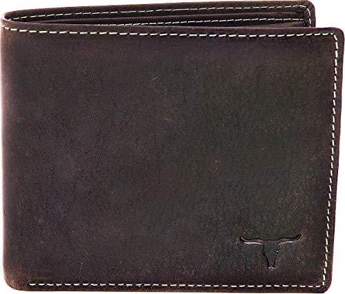 Leder Geldbörse Herren Damen Portemonnaie Leder Lederbörse Echt-Leder Querformat Leder Portemonnaie Börse Brieftasche von URBAN FOREST 11x9,5x1,5 (B x H x T), Farbe: Dunkelbraun. Braun