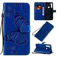 モトG8ケース、デュアルバタフライパターンPUレザーケース、モトG8のためのカードスロットホルダーと磁気ウォレットケースについて (Color : Blue)