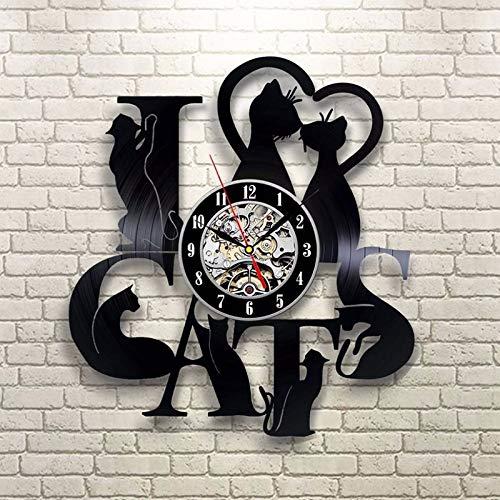 xcvbxcvb Vinyl Schallplatte LED Wanduhr mit 7 Beleuchtung Ich Liebe Katze 3D-Dekoration Vintage CD Schallplatte Uhr Wand Tisch Hauptdekoration