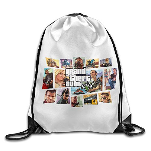 HLKPE Creative Design GTA 5 Grand Theft Auto V Game Logo Drawstring Backpack Sport Bag for Men and Women