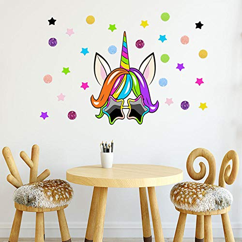 Decoratieve Muurstickers_1230 Persoonlijkheid Creatieve Zonnebril Eenhoorn Muurstickers 2019 Nieuwe Woonkamer Slaapkamer Shop Decoratie