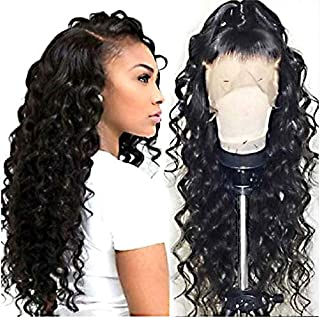 360 Lace Frontal Wave Human Hair Wigs 150% Density Brazilian Loose Wave Wig with Baby for Black Women Natural Color 16 inch
