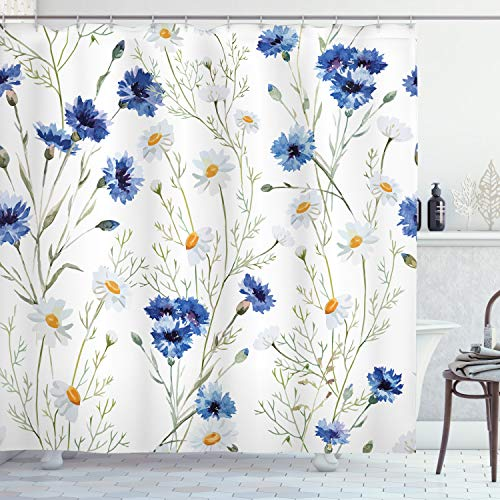 Ambesonne Watercolor Flower Shower Curtain, Wildflowers and Cornflowers Daisies Blooms Flower Buds, Cloth Fabric Bathroom Decor Set with Hooks, 84' Long Extra, Green Marigold