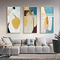 """大きなキャンバスプリント黄色の幾何学的抽象キャンバスポスタープリント現代の壁アート絵画アートワーク画像廊下の装飾70x140cm(27""""x55"""")フレームなし"""
