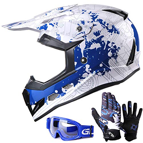 GLX Unisex-Child GX623 DOT Kids Youth ATV Off-Road Dirt Bike Motocross Helmet Gear Combo Gloves Goggles for Boys & Girls (Modern, X-Large)