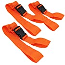 "LINE2design Backboard Spine Board Straps - 5"" Disposable Securing Straps with Loop Ends - Emergency Medical Board Adjustable Strap with Plastic Quick Safety Straps Release Buckle - Orange - Pack of 3"