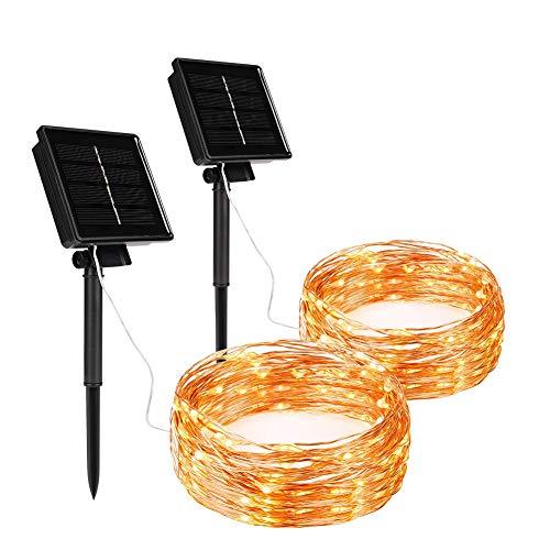 BLOOMWIN Guirnaldas Luces Exterior Solar 22M 200 LED 2 Pack Cadena de Luces 8 Modos Panel Solar Impermeable Iluminación Decoración para Exterior, Interior, Jardines, Casas, Boda, Fiesta, Navidad
