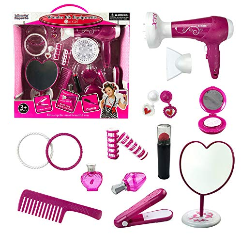 Liberty Imports Fashion Studio Cute Girls Beauty Salon Play Set with Hairdryer, Curling Iron, Mirror & Styling Accessories