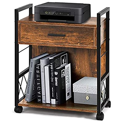 File Cabinet Functional Side Table, Industrial Printer Stand for Home Office Mobile Office Cabinet with Drawer and Bottom Shelf Storage, Rolling File Cabinet Vertical Files Cart Rustic Brown