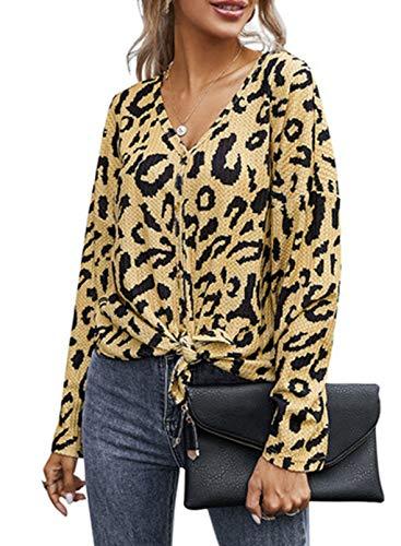 CORAFRITZ Blusa de manga larga con estampado de leopardo, botones y cuello en V, acogedora túnica para mujer