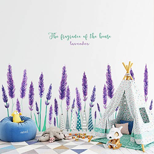 Purple Lavender Flower Wall Art Decal Watercolor Painting Plant Wall Sticker,Removable Art Murals for Kids Bedroom Nursery Living Room