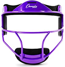 Champion Sports Steel Softball Face Mask - Classic Fielders Masks for Youth - Durable Head Guards - Premium Sports Accessories for Indoors and Outdoors - Purple