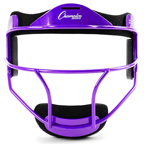 Champion Sports Steel Softball Face Mask - Classic Baseball Fielders Masks for Youth - Durable Head Guards - Premium Sports Accessories for Indoors and Outdoors - Purple
