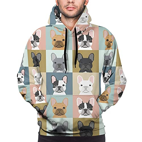 Men'S 3d Hoodie Graphic Hooded Sweatshirts Funny Happy French Bulldog Ethnic Pullover Hoodies Casual Pocket Jacket
