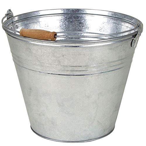 Spetebo Zinkeimer mit Holzgriff - 10 Liter - Wassereimer Blecheimer Eimer Blumenkübel Pflanzkübel